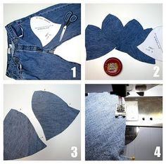 Recycled denim hat tutorial, from old jeans