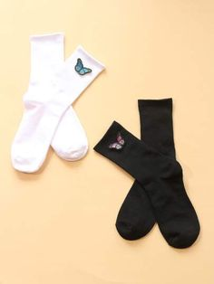 Black and White Cotton Socks & Tights, size features are:Bust: ,Length: ,Sleeve Length: Women's Leggings, Tights, Clothes For Women In 20's, Cool Socks, Women's Socks, Stylish Hoodies, How To Tie Dye, Tie Dye Bikini, Swag Outfits For Girls