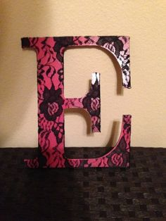 Pink-and-Black-Lace-Wood-Letters