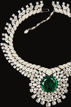 Trifari 'Alfred Philippe' Giant Pave Chatons Diamond Cut Emerald Necklace