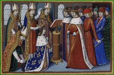 The coronation of Charles VII by Martial d'Auvergne .E nluminure end of the book Vigils of Charles VII, Paris, France, century. Martial, Roi Charles, 30 Mai, Jeanne D'arc, Reims, French Revolution, Bnf, Art Boards, Design Boards