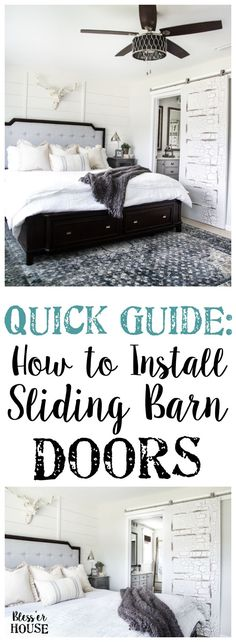 How to Install Sliding Barn Doors | http://blesserhouse.com - A quick tutorial to show how to install sliding barn doors in 5 easy steps using a door hardware kit from @NationalHardware. #sponsored