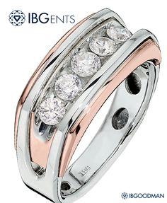 The combination of white and rose gold has never been so stylish. This sharp five-stone gents ring from IBGOODMAN has quickly become a favorite of men around the world.