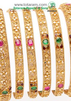 Totaram Jewelers: Buy 22 karat Gold jewelry & Diamond jewellery from India: 22K Fine Gold Bangle - set of 6 (3 pairs)