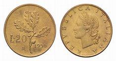 20 Lire 1956. I due esemplari rimasti dopo il ritiro e la fusione sono al Museo della Zecca