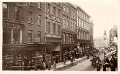 Grafton Street - view to north. Named after the second Duke of Grafton, this street dates back to the early It was a fashionable residential street in the century. In 1982 the street was zoned for pedestrians only. Dublin House, Dublin City, Old Pictures, Old Photos, Vintage Photos, Irish Independence, Grafton Street, Images Of Ireland, Photo Engraving