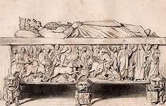 Tombeau de l'empereur LOUIS LE PIEUX, état avant la Révolution (gravure sur acier originale gravée par Chaillot)- LOUIS 1° -8) TOMBEAU DE LOUIS 1°, 1: Charlemagne avait fait de l'ABBAYE ST-ARNOUL de Metz la nécropole d'une partie de sa famille: sa femme HILDEGARDE, ses soeurs, ainsi que ses fils, dont l'empereur LOuis le Pieux, y furent enterrés.