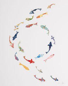 Koi Carp Circle Collage