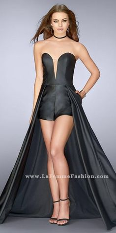 677f213cb8 Strapless Vegan Leather Romper with Overskirt Prom Dress by La Femme Prom  Dress Stores