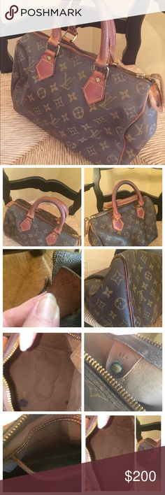 Louis Vuitton Monogram Canvas Speedy 25 The date code is 874 FC. The first 2 numbers represent the year it was manufactured & the third number is mo.   Size is 25. No dust cover. Zipper works fine. All 4 corners have some wear on them. The leather has darkened & has stains that look like a wet spot on leather on one side of the handles. Pocket inside is dirty & there are a several large ink spots inside the bag. Green oxidation on the brass hardware inside the bag. Handles have darkened…