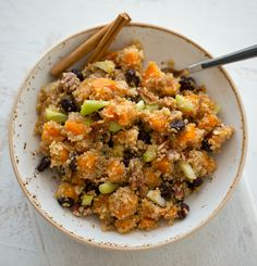 Butternut Squash Quinoa Salad with crunchy pecans, celery, cinnamon, sweet raisins
