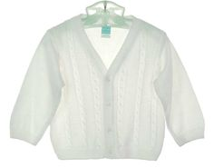 NEW Will'Beth White Fine Knit Cotton Cable Stitched Sweater $40.00