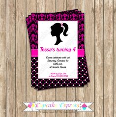 DIY Barbie Inspired Birthday Party  PRINTABLE Invitation 5x7 Pink black Photo