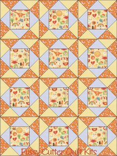 School Days Baby Children Orange Blue Alphabet Letters Frogs Dino Apples Teacher Fabric Fast Easy Beginner Patchwork Pre-Cut Quilt Blocks Top Kit Quilting Squares