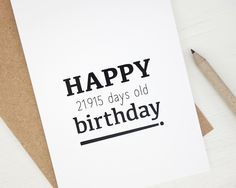 Funny 60th Birthday Card Happy 21915 Days Old 60 Years