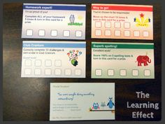 The Learning Effect: Classroom Reward Cards Like cards for behavior, academics and acts of kindness.