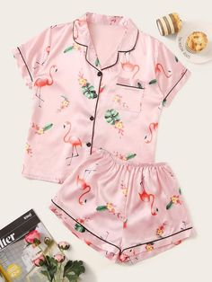 To find out about the Flamingo & Tropical Print Satin Pajama Set at SHEIN, part of our latest Night Sets ready to shop online today! Cute Pajama Sets, Cute Pjs, Cute Pajamas, Cute Sleepwear, Sleepwear Women, Pajamas Women, Satin Pyjama Set, Satin Pajamas, Pyjamas