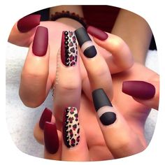 Red Leopard print nails