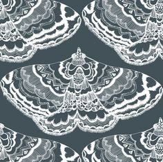 Grey Lace Flutterings fabric by smuk on Spoonflower - custom fabric