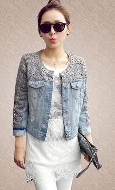 Картинки по запросу джинсовая куртка с кружевом