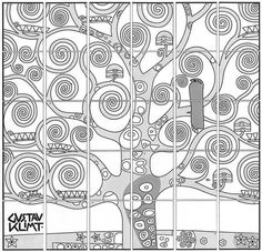 Introduce a Gustav Klimt Tree of Life art lesson with my art mural template. Each student colors a page and together make a large, collaborative mural. Group Art Projects, School Art Projects, Art School, Collaborative Art Projects For Kids, Gustav Klimt, Collaborative Mural, Arte Elemental, Classe D'art, Tree Of Life Art