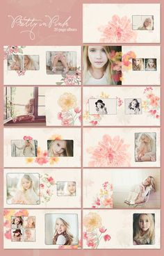 pretty in pink watercolor album by sp design. Wedding Album Design, Wedding Book, Web Design, Book Design, Album Digital, Simplicity Photography, Photoshop, Photo Layouts, Pink Watercolor