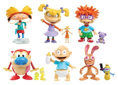 These collectible bobble heads include classic characters from Nickelodeon series, including Hey Arnold!, Rugrats, and Ren & Stimpy. The figures feature incredible detail, including iconic outfits and accessories. Rugrats, Spongebob Squarepants Toys, 90s Stuff, 90s Nickelodeon, 90s Party, 90s Childhood, Bobble Head, 5th Birthday, Vinyl Figures