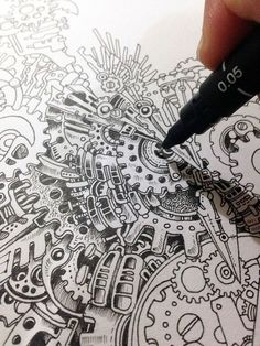 Drawing Doodles Sketches Steampunk Owl Illustration By Doodle Artist Kerby Rosanes / so fuckin awesome and unique ! Doodle Art, Owl Doodle, Steampunk Drawing, Steampunk Kunst, Doodles Zentangles, Zentangle Patterns, Doodle Patterns, Owl Illustration, Steampunk Illustration