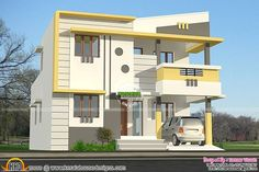 House Design Indian Style Plan And Elevation Unique Kerala home design and floor plans - Best Home Interior Design Modern Small House Design, House Front Design, Modern House Plans, Door Design, 2 Storey House Design, Double Storey House, Front Elevation Designs, House Elevation, Building Elevation