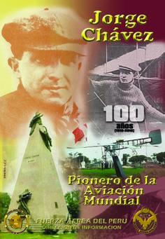 Afiche conmemorativo por los 100 años del Héroe Nacional de Perú Jorge Chávez