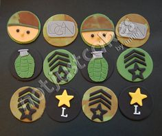 Army Themed Cupcakes for my friend's son's birthday. Military Cupcakes, Army Cupcakes, Fire Cupcakes, Army Cake, Military Cake, Themed Cupcakes, Fondant Cupcake Toppers, Fondant Cookies, Cupcake Cakes