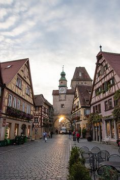 Picturesque streets of Rothenburg ob der Tauber / Germany