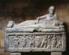 Sarcophagus of the Magistrate (Laris Pulena). Etruscan civilization, 3rd century b.C. nenfro, circa 200 b.C. Artwork-location: Tarquinia, Museo Archeologico (Archaeological Museum)