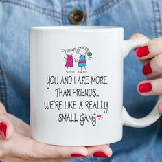 ** Friend Mugs - Great Gifts **  11 OZ CERAMIC WHITE TEA / COFFEE MUG  PRINTED USING THE LATEST SUBLIMATION PRINT TECHNOLOGY  ★ Microwave & Dishwasher Safe ★ Comes complete with Gift box.  This mug will make the perfect gift for any occasion. All mugs are handmade to order, All produced in the USA Best Friend Mug, Friend Mugs, Custom Wall, Custom Mugs, Rude Mugs, Funny Birthday Gifts, Mug Printing, Personalized Stickers, Wall Decal Sticker