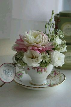 Beautiful flowers in teacup .