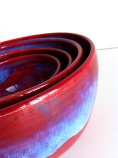 Red  Blue Porcelain Nesting Bowls by NewMoonStudio on Etsy, $110.00