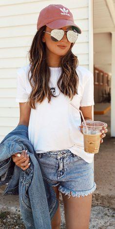 summer outfits Pink Cap + White Tee + Denim Short