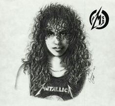 My lovely Kirk Hammett when he cut his beautiful hair. So here he is in front of the LOAD cover. not my fav album at . Metal Drawing, Drawing Rocks, Dave Mustaine, Thrash Metal, Heavy Metal Art, Black Metal, Metallica Art, Ride The Lightning, Kirk Hammett