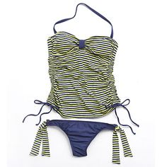 Splendid Navy and Lime Striped Tankini