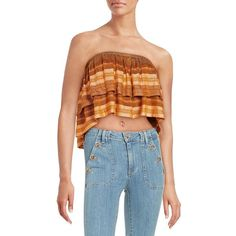 Free People Knit Crop Top ($78) ❤ liked on Polyvore featuring tops, orange, strapless crop top, strapless top, free people, crop top and blue knit top