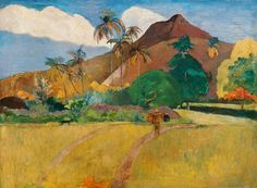 Global Gallery 'Tahitian Landscape with a Mountain' by Paul Gauguin Framed Painting Print Size: Paul Gauguin, William Turner, Painting Frames, Painting Prints, Art Prints, Paintings, Impressionist Artists, Art Moderne, Stretched Canvas Prints