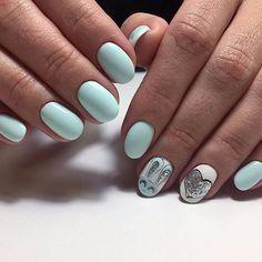 мятного цвета маникюр, светлые ногти, дизайн ногтей с зайчиком, nails art, design, style, manicure
