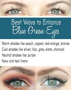 Eyeshadows to Enhance Blue Green Eyes Phyrra shares the best ways to make blue green eyes pop! Find out how to enhance your beautiful eye color.Phyrra shares the best ways to make blue green eyes pop! Find out how to enhance your beautiful eye color. Eyeshadow For Green Eyes, Best Eyeshadow, Makeup For Green Eyes, Blue Eye Makeup, Eye Makeup Tips, Colorful Eyeshadow, Makeup Ideas, Beauty Makeup, Makeup Tricks
