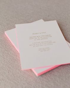 gold foil lettering + neon pink edging
