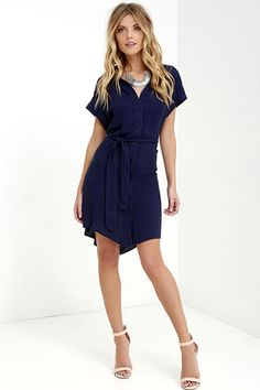 School of Thought Navy Blue Shirt Dress at Lulus.com!