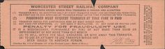 Back of streetcar transfer from Worcester (Massachusetts) Street Railway (date unknown)