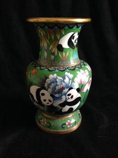 Vintage Chinese Cloisonne Large Vase w/ Panda Decoration SIGNED