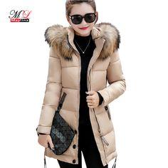 Maylina Fur Collar Women Winter Thick Jackets Long Cotton Padded Coat Female Hooded Warm Outerwear Overcoat Slim Parka Jacket