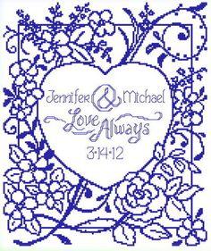 Love Always Wedding cross stitch pattern.