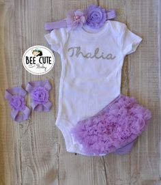 1156cca62 Items similar to Personalized Baby Newborn Girl Coming Home Outfit-Baby  Girl Tutu Light Purple Bloomer-New Born Headband & Sandals.Perfect for Baby  Shower. ...